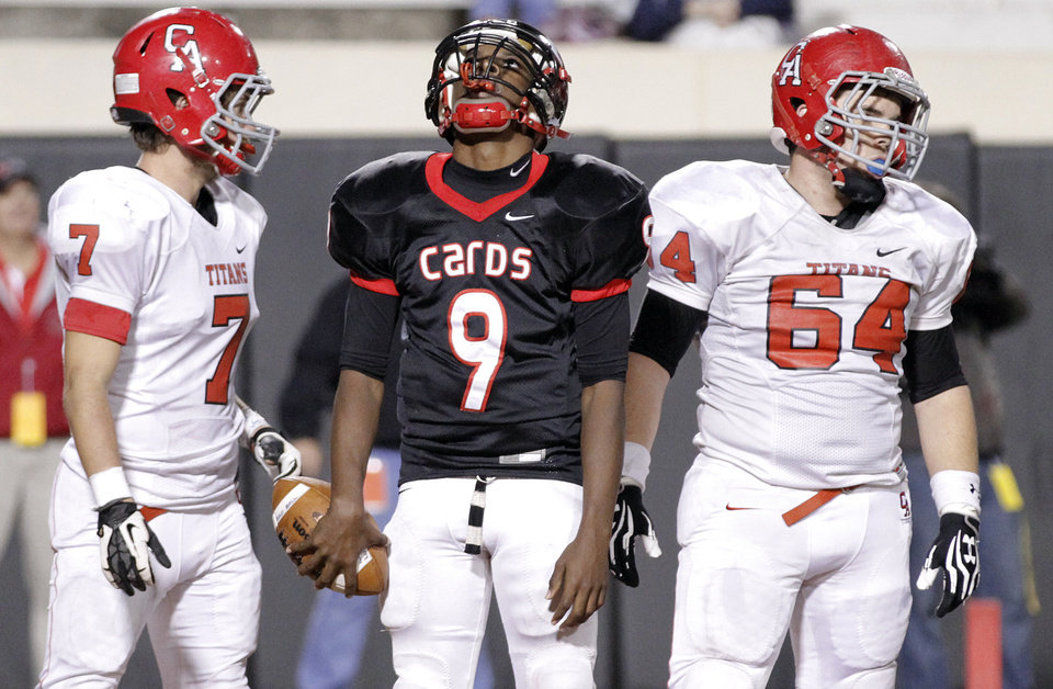 East Central's Trevaughn Cherry (9) reacts after another offensive penalty during the Class 5A Oklahoma state championship football game between Carl Albert High School and Tulsa East Central High School at Boone Pickens Stadium on Saturday, Dec. 1, 2012, in Stillwater, Okla.   Photo by Chris Landsberger, The Oklahoman