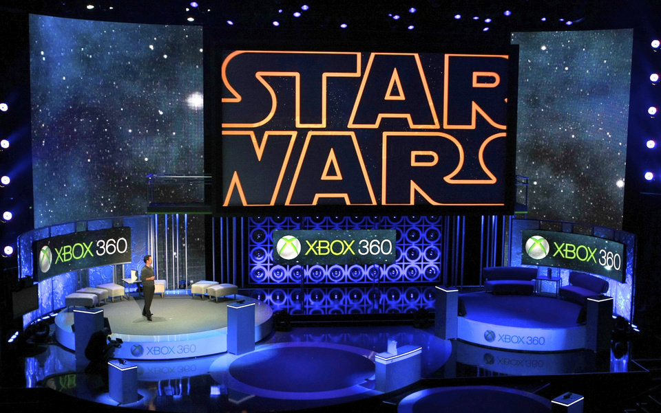 Photo - FILE - In this June 14, 2010 file photo, Microsoft presents an upcoming LucasArts'