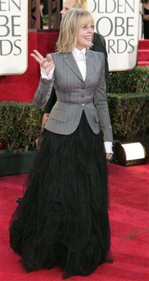 Diane Keaton arrives for the 62nd Annual Golden Globe Awards on Sunday, Jan. 16, 2005, in Beverly Hills, Calif. (AP Photo/Mark J. Terrill)