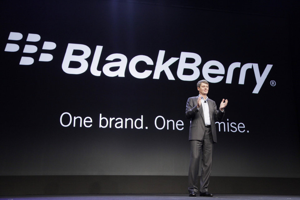 Thorsten Heins, CEO of Research in Motion, announces that the company will now be known as BlackBerry, Wednesday, Jan. 30, 2013 in New York. The new BlackBerry smartphone is promising a speedy browser, a superb typing experience and the ability to keep work and personal identities separate on the same phone, the fruit of a crucial, long-overdue makeover for the Canadian company. (AP Photo/Mark Lennihan)