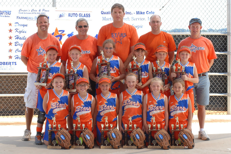 Bock Stars 8 & Under Girls Slow Pitch team combined of Oklahoma and Arkansas Players  Left to right  1st row:  Madison Klomfas #2, Abbey LeJong #13, Hope Moses #5, Bryanna Flanagan #7, Hailey Ostrander #4, and Kylee Cusicke #3  2nd row:  Hillary Calvert #10, Nina Echelle #25, Devyn Gregory #1, Destini Jones # 15 Casady Mills #27, and Mackenzie Townsend #11  Top row Coaches (Left to Right): Mike Mills, Mike Bock, Bobby Gregory, Mike LeJong and Bob Calvert  The girls won double Arkansas titles (ASA and USSSA for 8 & Under girls slow pitch) and they won double National Invitation Titles from Arkansas and Kentucky for Girls 8 & under slow pitch----see story attached.<br/><b>Community Photo By:</b> Rita Echelle<br/><b>Submitted By:</b> Laurie,