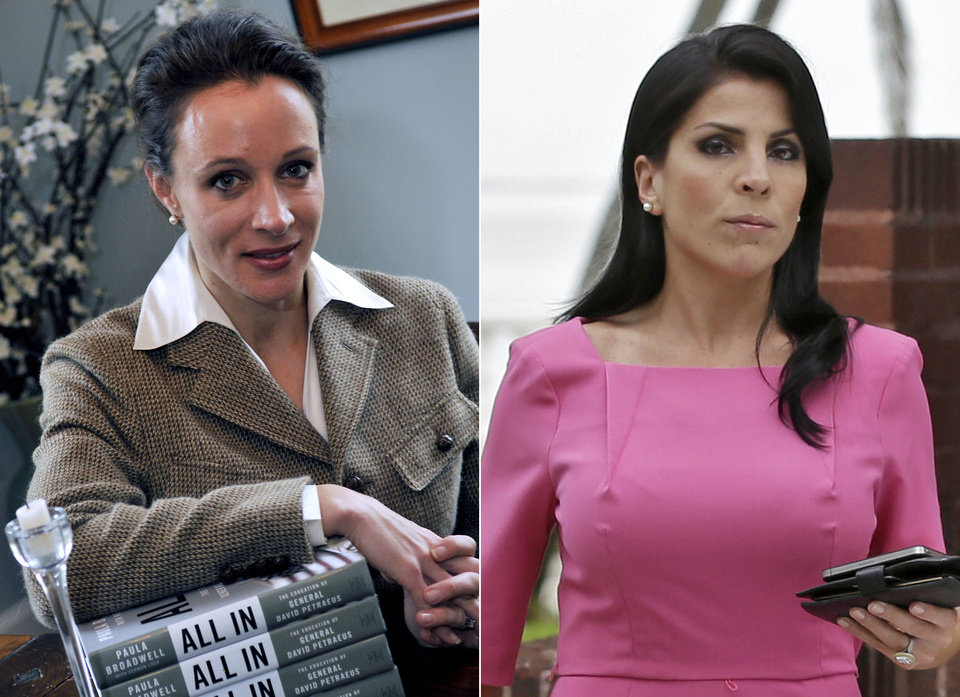 Photo -   This combo made from file photos shows Gen. David Petraeus' biographer and paramour Paula Broadwell, left, and Florida socialite Jill Kelley. Broadwell and Kelley, the two women at the center of David Petraeus' downfall as CIA director, visited the White House separately on various occasions in what appear to be unrelated calls that did not result in meetings with President Barack Obama. (AP Photos/Charlotte Observer, T. Ortega Gaines/AP, Chris O'Meara) LOCAL TV OUT (WSOC, WBTV, WCNC, WCCB); LOCAL PRINT OUT (CHARLOTTE BUSINESS JOURNAL, CREATIVE LOAFLING, CHARLOTTE WEEKLY, MECHLENBURG TIMES, CHARLOTTE MAGAZINE, CHARLOTTE PARENTS) LOCAL RADIO OUT (WBT)