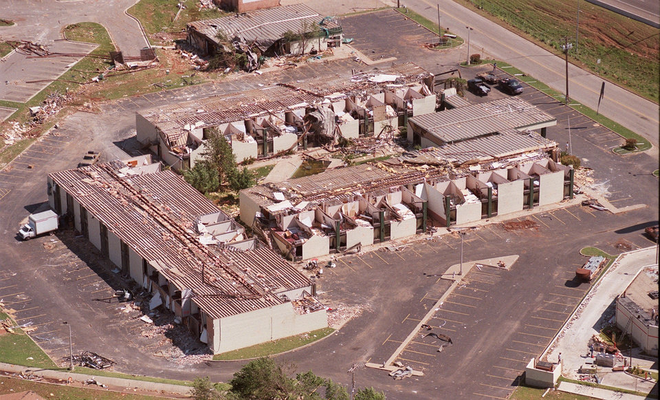 Tornado damage, aerial view: Comfort Inn at I-40 and Sooner Rd looking SE.