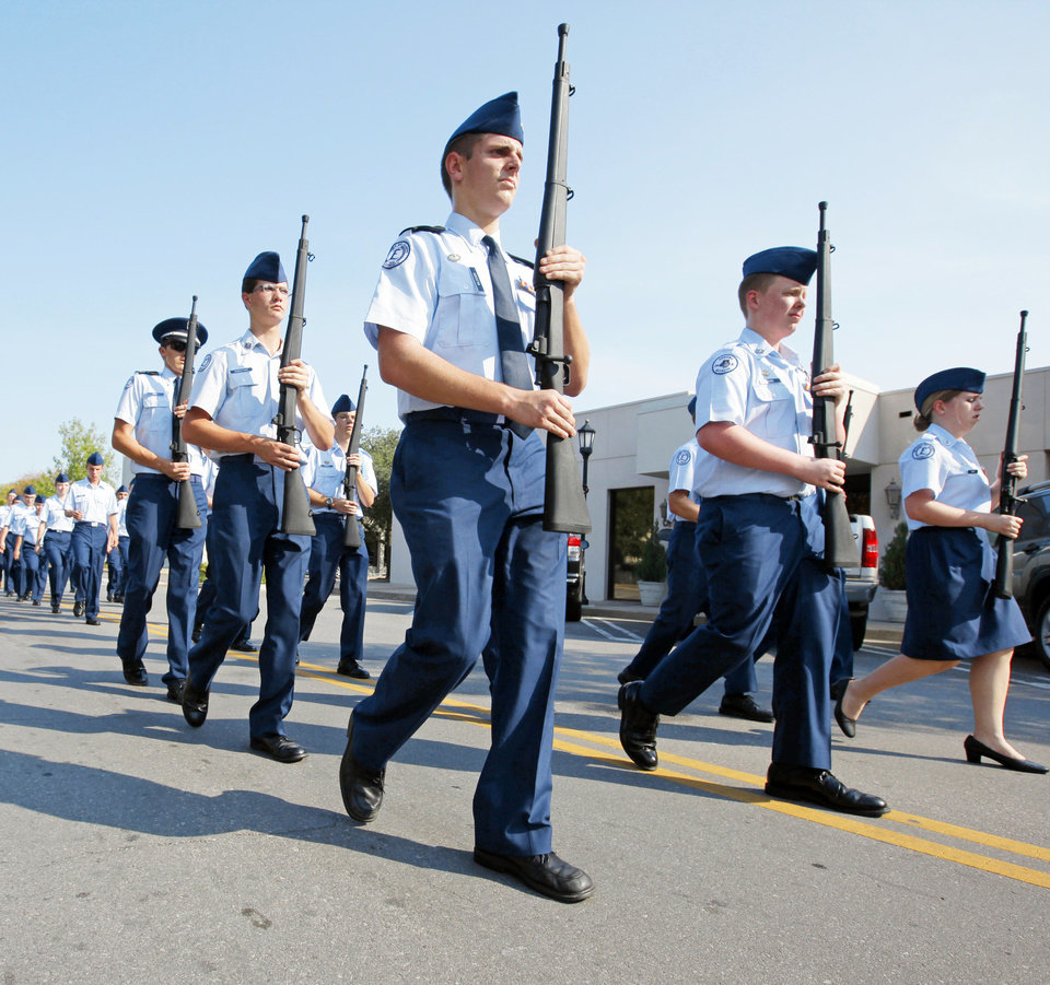 The Edmond North Air Force JROTC marches during the Edmond North High School homecoming parade. Photo by Nate Billings, The Oklahoman