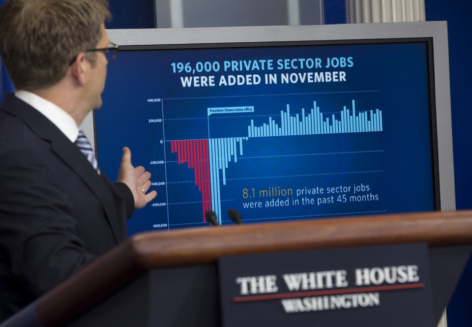 Photo - FILE - In this , Friday, Dec. 6, 2013, file photo, White House press secretary Jay Carney gestures to a display about job numbers during the daily news briefing at the White House in Washington.  The construction industry stepped up hiring in 2013, filling many higher-paying jobs on the strength of a surge in home building. But much of the nation's job growth last year was concentrated in lower-paying industries, like big retailers, bars and restaurants. At the same time, state and local governments added jobs for the first time in four years.  (AP Photo/Carolyn Kaster)