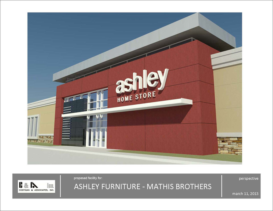 This drawing shows the Ashley Furniture HomeStore. Mathis Brothers signed up to operate at least five locations. Drawing Provided <strong></strong>