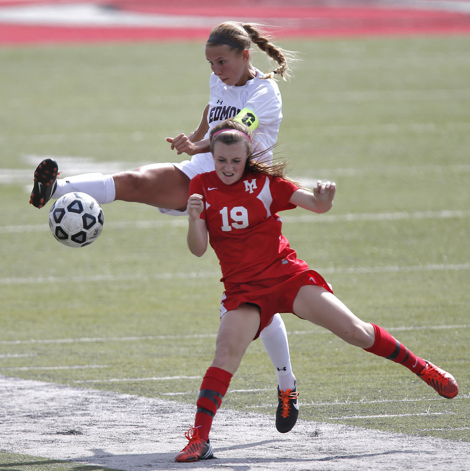 Photo - GIRLS HIGH SCHOOL SOCCER: Yukon's Ashlyn Collier (19) fights for the ball with Edmond's Lana Duke (20) during the Bronco Cup Soccer Tournament at Mustang High School on Thursday, March 28, 2013, in Mustang, Okla.  Photo by Chris Landsberger, The Oklahoman