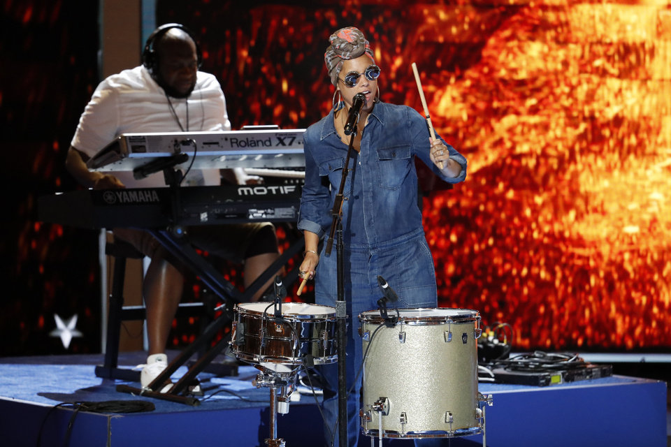 Photo - Singer Alicia Keys practices during a sound check before the start of the second day of the Democratic National Convention in Philadelphia , Tuesday, July 26, 2016. (AP Photo/J. Scott Applewhite)