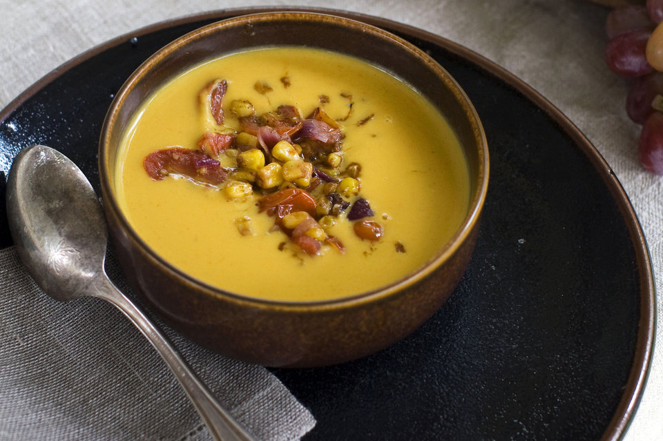 Squash bisque with pan roasted corn salsa is shown served in a bowl in Concord, N.H. AP PHOTO <strong>Matthew Mead - AP</strong>