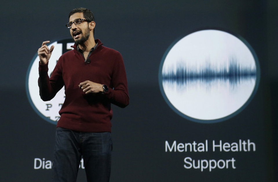 Photo - Sundar Pichai, senior vice president of Android, Chrome and Apps, speaks during the Google I/O 2014 keynote presentation in San Francisco, Wednesday, June 25, 2014. As Google's Android operating system stretches into cars, homes and smartwatches, this year's annual two-day developer conference will expand on its usual focus on smartphones and tablets. (AP Photo/Jeff Chiu)