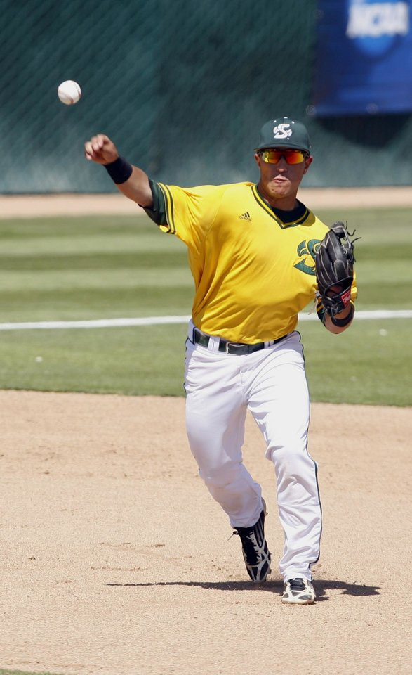 Photo - Sacramento State third baseman Will Soto throws to first during the eighth inning of an NCAA college baseball tournament regional game against Cal Poly on Sunday, June 1, 2014, at Baggett Stadium at Cal Poly in San Luis Obispo, Calif. (AP Photo/Aaron Lambert)