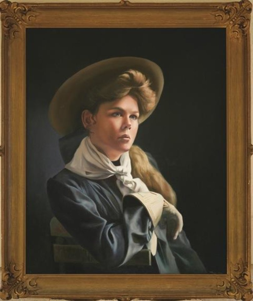 Photo - Known as America's first cowgirl, Lucille Mulhall starred in vaudeville and Wild West shows. She was among the first women to compete against men in roping and riding events. Her ladylike demeanor and diminutive stature charmed audiences around the world with her unusual balance on her horse and uncanny accuracy with her rope. Sponsored by Bob Funk of Oklahoma City. Tracey Harris,