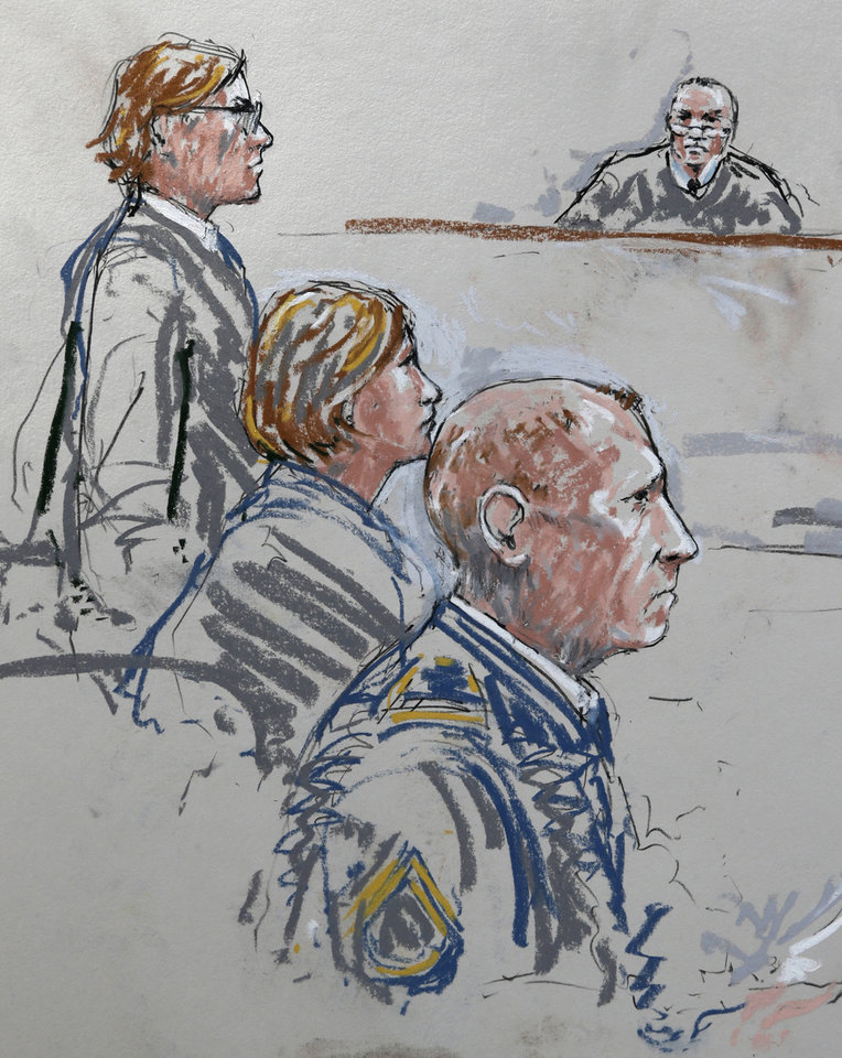 Photo - In this detail from a courtroom sketch, U.S. Army Staff Sgt. Robert Bales, lower right, sits with his civilian attorneys, John Henry Browne, left, and Emma Scanlan, second from left, Wednesday, June 5, 2013 as they appear before military judge Col. Jeffery Nance, right, during a plea hearing in a military courtroom at Joint Base Lewis McChord in Washington state. Bales pleaded guilty to multiple counts of murder, stemming from a pre-dawn attack on two villages in Kandahar Province in Afghanistan in March, 2012. (AP Photo/Peter Millett)