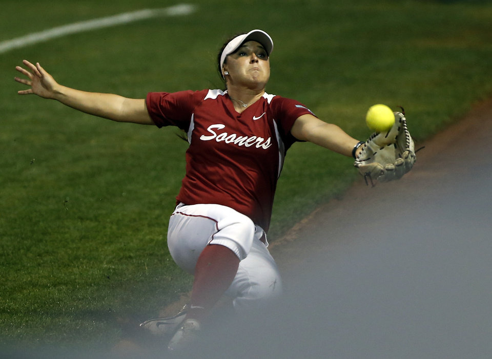 Photo - Oklahoma's Erin Miller catches Haley Tobler's pop up foul ball for an out as the University of Oklahoma Sooner (OU) softball team plays Tennessee in game two of the NCAA super regional at Marita Hynes Field on May 24, 2014 in Norman, Okla. Photo by Steve Sisney, The Oklahoman