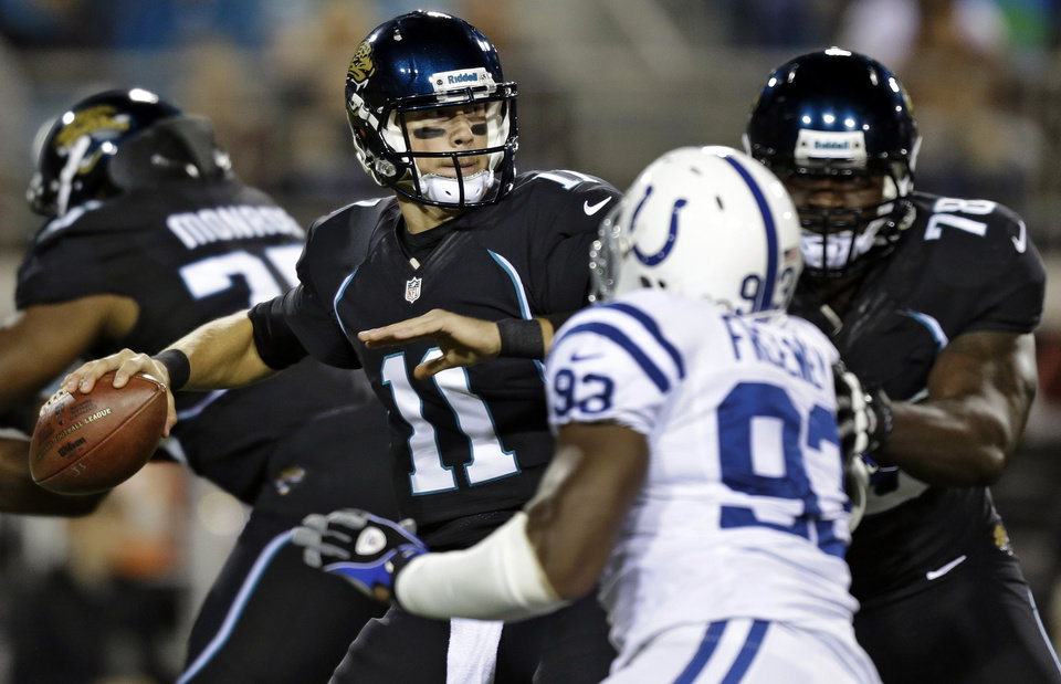 Jacksonville Jaguars quarterback Blaine Gabbert (11) throws a pass as tackle Cameron Bradfield (78) blocks Indianapolis Colts outside linebacker Dwight Freeney (93) during the first quarter of an NFL football game, Thursday, Nov. 8, 2012, in Jacksonville, Fla. (AP Photo/Chris O'Meara)
