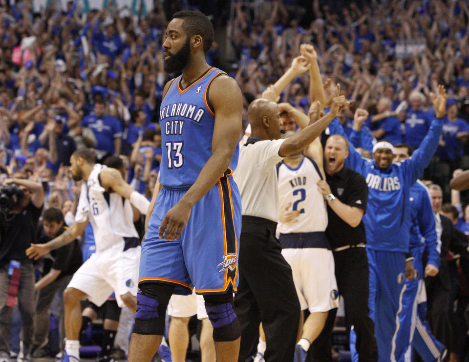 Oklahoma City's James Harden (13) walks off the court after Oklahoma City's loss in game 5 of the Western Conference Finals in the NBA basketball playoffs between the Dallas Mavericks and the Oklahoma City Thunder at American Airlines Center in Dallas, Wednesday, May 25, 2011. Photo by Bryan Terry, The Oklahoman