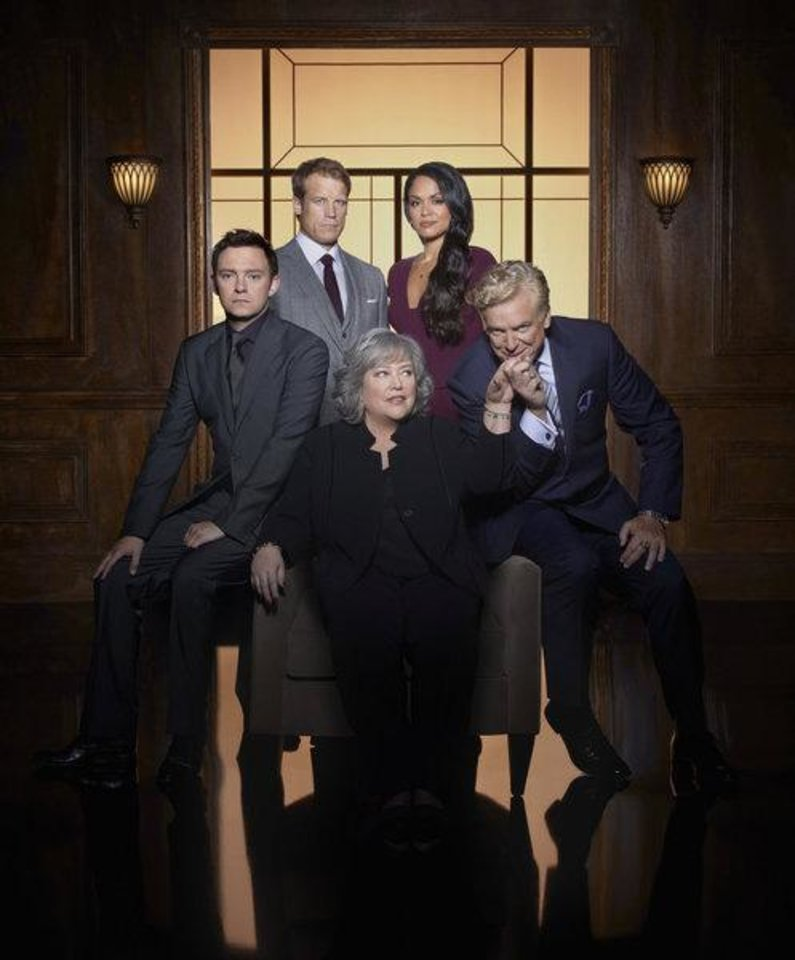 """Photo -  HARRY'S LAW -- Season:2 -- Pictured: (l-r) Nate Corddry as Adam Branch, Mark Valley as Oliver Richard, Karen Olivo as Cassie Reynolds, Kathy Bates as Harriet """"Harry"""" Korn, Christopher McDonald as Tommy Jefferson -- Photo by: John Russo/NBCHarriet """"Harry"""" Korn -- Photo by: John Russo/NBC"""