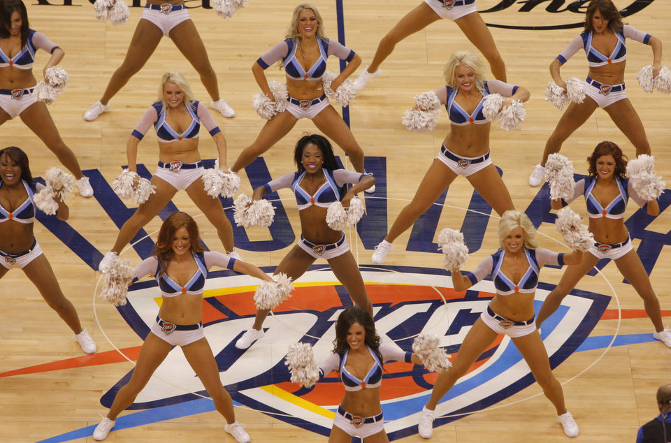 The Thunder Girls perform during Game 2 of the NBA Finals between the Oklahoma City Thunder and the Miami Heat at Chesapeake Energy Arena in Oklahoma City, Thursday, June 14, 2012. Photo by Bryan Terry, The Oklahoman