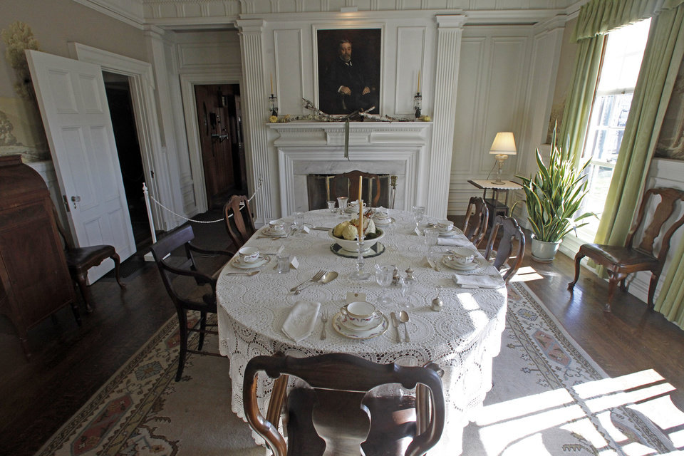This Monday, Nov. 19, 2012 photo shows the dining room at the Robert Todd Lincoln mansion Hildene in Manchester, Vt. The Georgian Revival home was built in 1905 by Robert Todd Lincoln, the only one of the president's four children to survive to adulthood.(AP Photo/Toby Talbot)