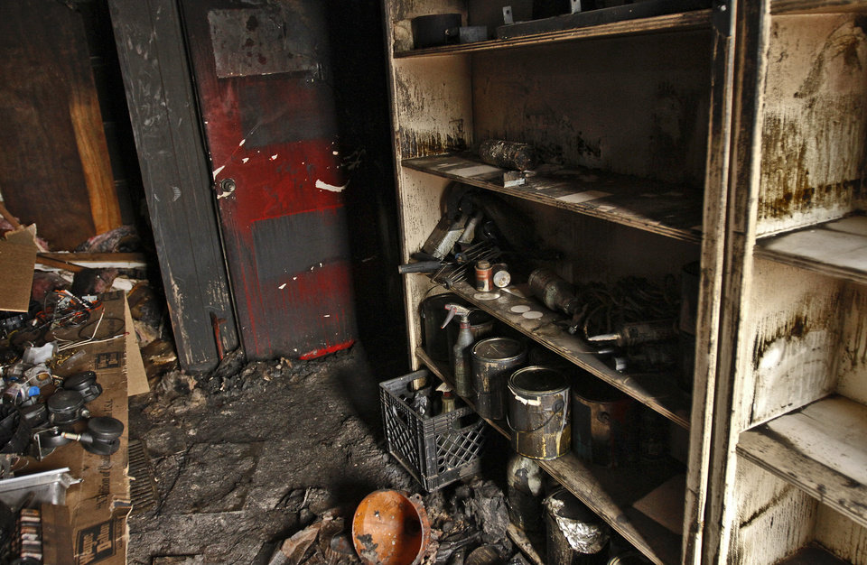 Damage left behind from a fire that destroyed the lobby area of American Propane on Friday, Feb. 10, 2012, in Oklahoma City, Okla. The company has temporarily moved next door to AG&M till the renovations are completed. Photo by Chris Landsberger, The Oklahoman