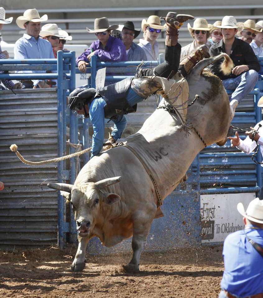 Photo - Tyler Jackson gets thrown from his bull as he competes in the bull riding event during Tuesday's performances at the International Youth Finals Rodeo at the Shawnee Heart of Oklahoma Exposition Center in Shawnee, OK, Tuesday, July 8, 2014,  Photo by Paul Hellstern, The Oklahoman