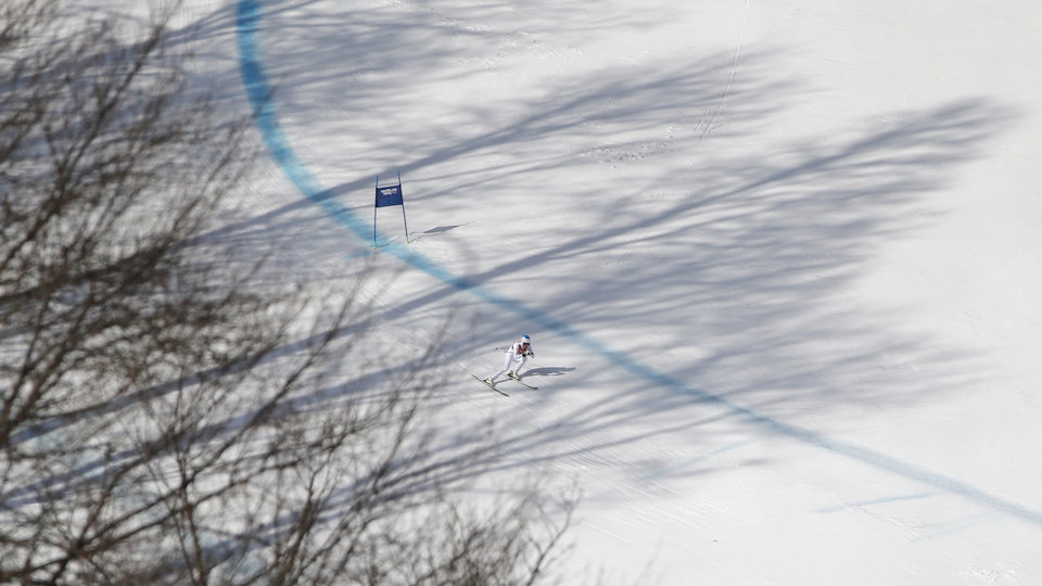 Photo - United States' Julia Mancuso nears the finish in the downhill portion of the women's supercombined at the Sochi 2014 Winter Olympics, Monday, Feb. 10, 2014, in Krasnaya Polyana, Russia. (AP Photo/Christophe Ena)