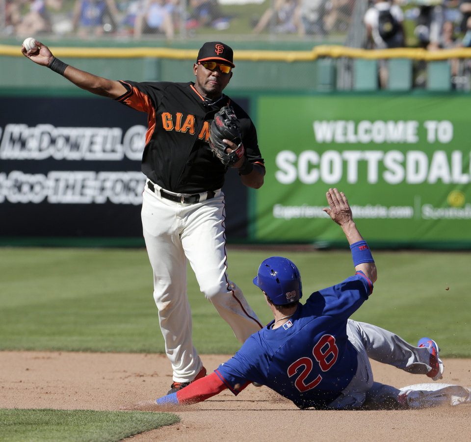 Photo - Chicago Cubs' Chris Coghlan, right, breaks up a double as San Francisco Giants second baseman Tony Abreu over throws first during the seventh inning of a spring exhibition baseball game in Scottsdale, Ariz., Monday, March 10, 2014. (AP Photo/Chris Carlson)