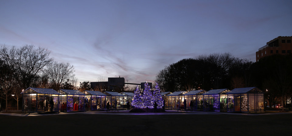 Photo - The Winter Shops at Myriad Gardens.  Photo by Doug Hoke, The Oklahoman  DOUG HOKE - THE OKLAHOMAN