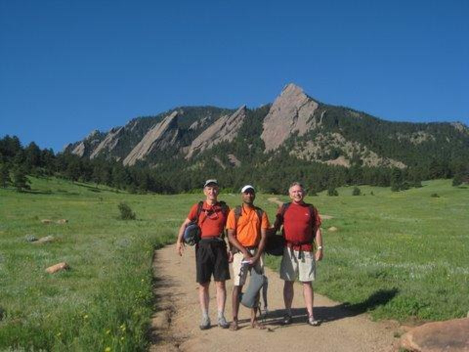Photo - CLIMBERS / BRUCE DAY: Harry Woods, Srin Surapanani and Bruce W. Day at the base of the trail to the first Flatiron.22.) The three Okies at the base of the trail to the first Flat Iron! ORG XMIT: 0911271740311461