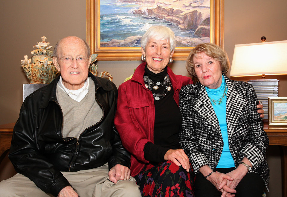 Photo -  David Flesher, Joan Marron LaRue and Dolly Flesher visit at Joan's private art preview at The Howell Gallery.