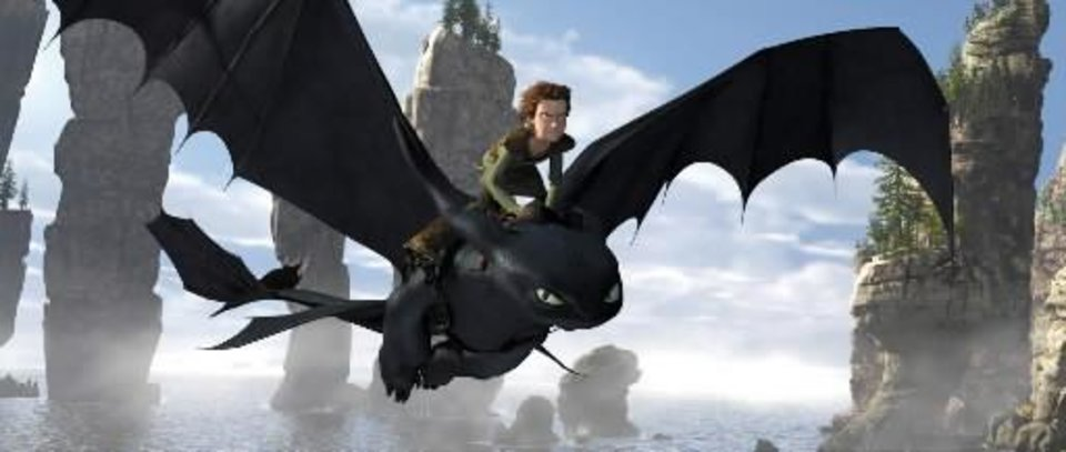 "Hiccup, voiced by Jay Baruchel, rides Toothless a scene is shown from ""How to  Train  Your  Dragon."" AP Photo"