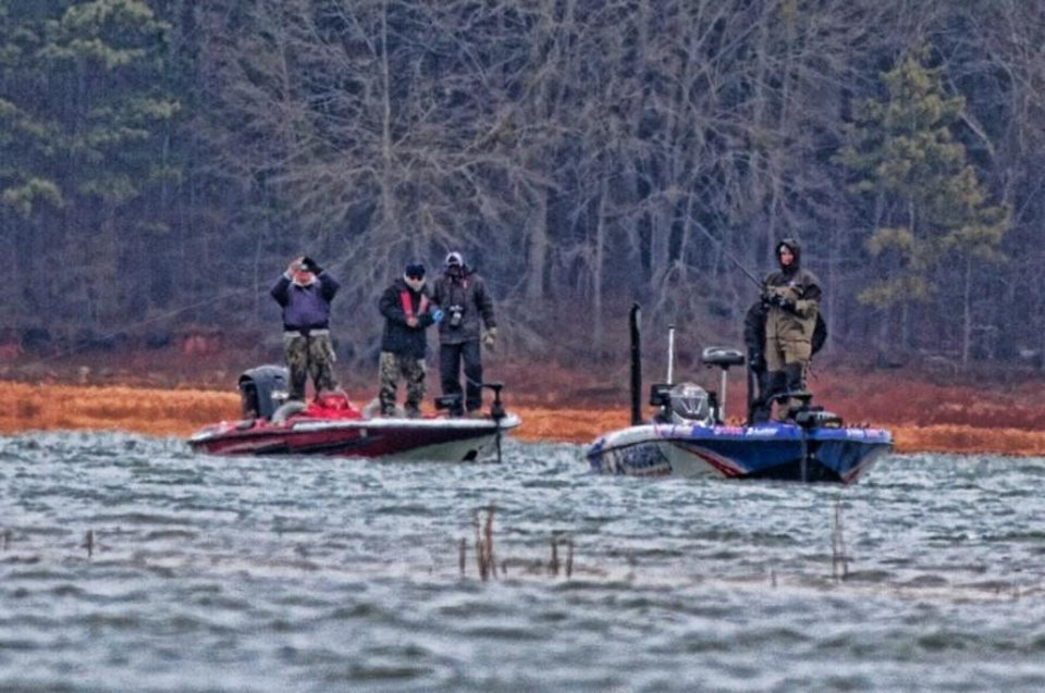Photo -  Anglers in this year's Bassmaster Classic are having to bundle up becaue of frigid temperatures.