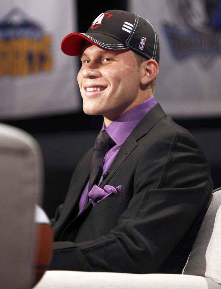 Photo - Former OU star Blake Griffin smiles during an interview after being picked first by the Clippers.  (AP Photo)