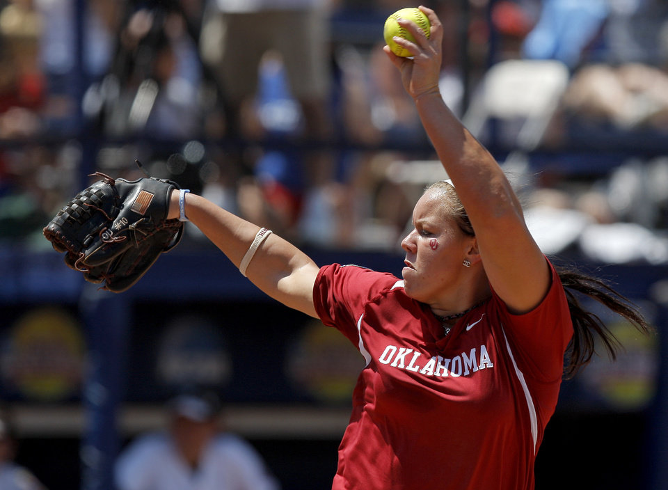 Photo - Oklahoma's Keilani Ricketts (10) pitches during a Women's College World Series softball game between the University Oklahoma and Missouri at ASA Hall of Fame Stadium in Oklahoma City, Saturday, June 4, 2011. Photo by Bryan Terry, The Oklahoman