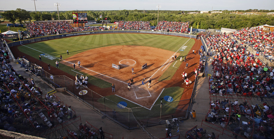 A crowd fills the stadium during a Women's College World Series game at ASA Hall of Fame Stadium in Oklahoma City, Friday, June 1, 2012.  Photo by Bryan Terry, The Oklahoman