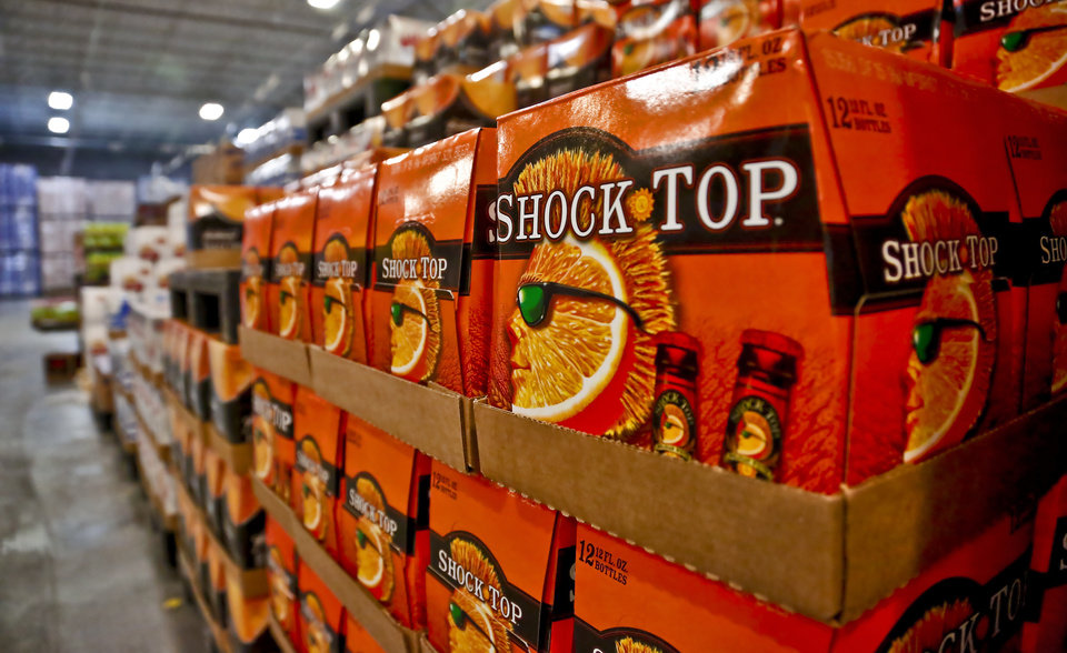 Photo - Shock Top beer stocked in the 100,000 sqf facility at the Anheuser-Busch Sales of Oklahoma (ABSO) distributor on Friday, Jan. 29, 2016, in Oklahoma City, Okla. Photo by Chris Landsberger, The Oklahoman