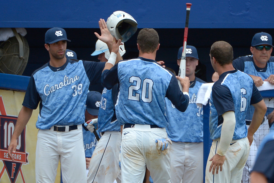Photo - North Carolina's Skye Bolt (20) is congratulated by teammates Benton Moss (39), Colby Barnette (34) and Alex Raburn (6) after scoring on a single by Tyler Ramirez during the third inning of an NCAA college baseball regional tournament game against Long Beach State in Gainesville, Fla., Sunday, June 1, 2014. (AP Photo/Phelan M. Ebenhack)