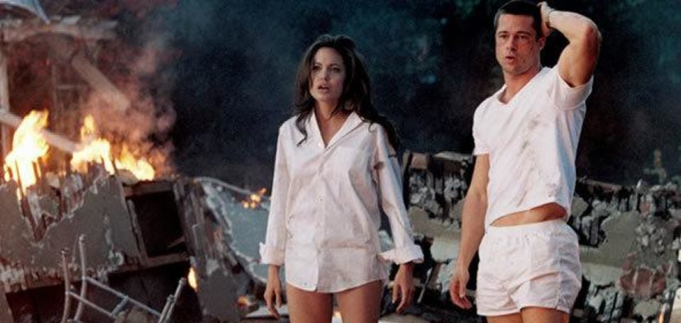 Photo - Angelina Jolie and Brad Pitt are shown in a scene from