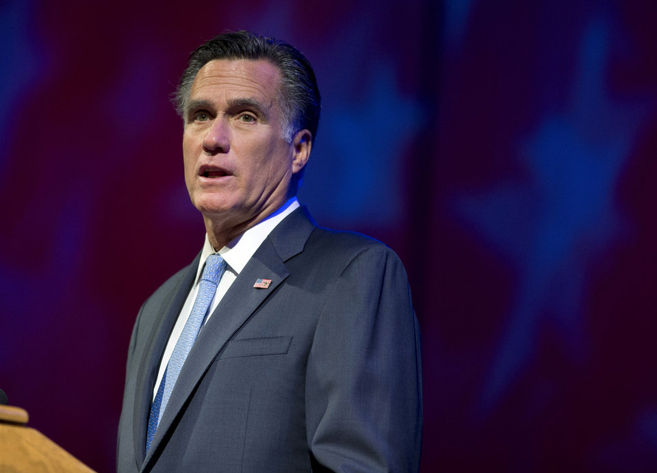 Photo -   Republican presidential candidate, former Massachusetts Gov. Mitt Romney speaks to the American Legion National Convention on Wednesday, Aug. 29, 2012 in Indianapolis. (AP Photo/Evan Vucci)