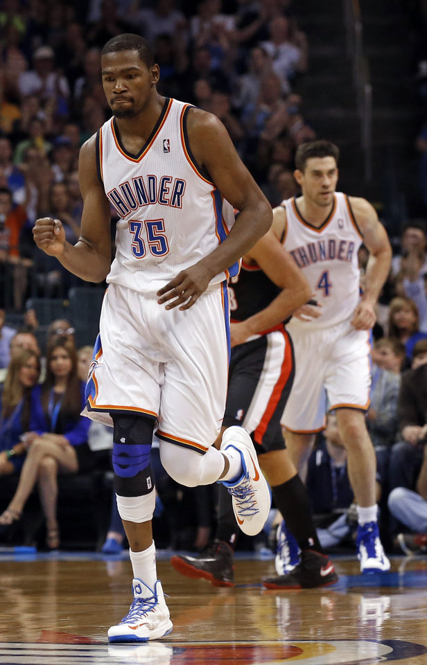 Photo - Oklahoma City Thunder's Kevin Durant (35) celebrates a bucket as the Oklahoma City Thunder defeat the Portland Trail Blazers 106-92 in NBA basketball at the Chesapeake Energy Arena in Oklahoma City, on Friday, Nov. 2, 2012.  Photo by Steve Sisney, The Oklahoman