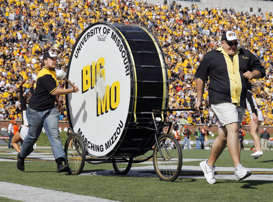Big Mo is pulled across the end zone after a Mizzou score during a college football game between the Oklahoma State University Cowboys (OSU) and the University of Missouri Tigers (Mizzou) at Faurot Field in Columbia, Mo., Saturday, Oct. 22, 2011. Photo by Nate Billings, The Oklahoman ORG XMIT: KOD