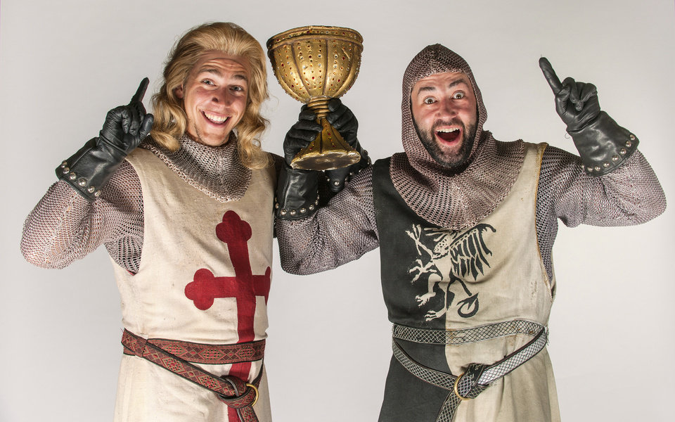 Photo - Sir Galahad (Perry Sook) and Sir Lancelot (Monte Riegel Wheeler) prepare to join King Arthur on a quest in search of the Holy Grail.  Photos by K.O. Rinearson