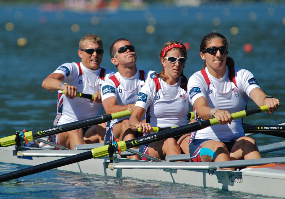Andrew Johnson, second from left, and Emma Preuschl, third from left, will represent the United States in the Paralympic Games that start Aug. 29 in London. The two rowers train at the Boathouse District in Oklahoma City.  PHOTO PROVIDED BY Allison Frederick