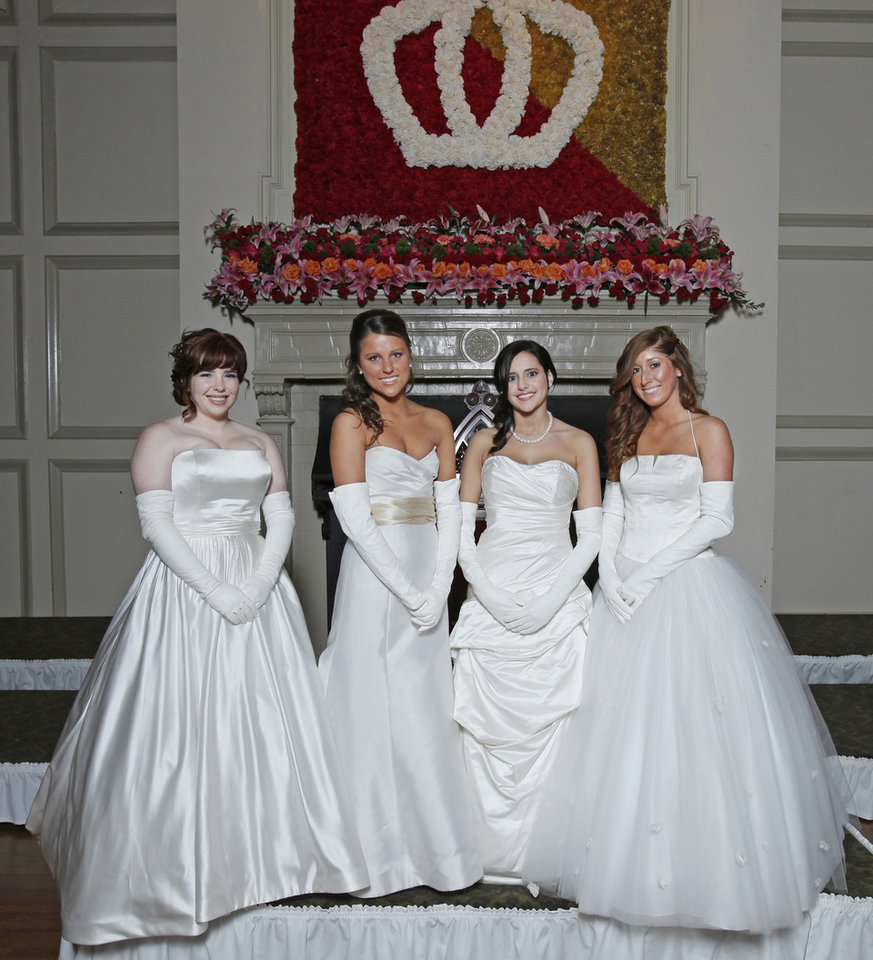 Debutantes, from left, Blair Levesque Tyrrell, Christina Nichole Ellis, Elaine Gabrielle Joseph and Lindsey Carlin Bevers at Oklahoma City Golf and Country Club Saturday, Nov. 28, 2009. Photo by Doug Hoke, The Oklahoman