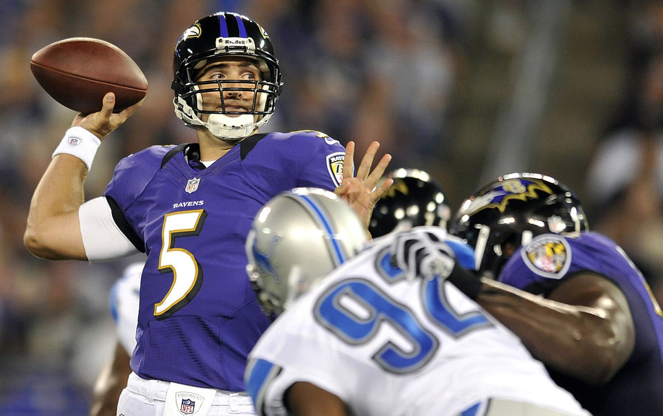 FILE - In this Aug. 17, 2012, file photo, Baltimore Ravens quarterback Joe Flacco looks to pass during the first half of an NFL preseason football game against the Detroit Lions in Baltimore. When Flacco takes the field next Sunday with the Baltimore Ravens, heíll be the second former Delaware Blue Hens quarterback to start a Super Bowl. Gannon was the first. Rich Gannon was the first, starting for the Oakland Raiders in Super Bowl XXXVII. (AP Photo/Gail Burton, File)
