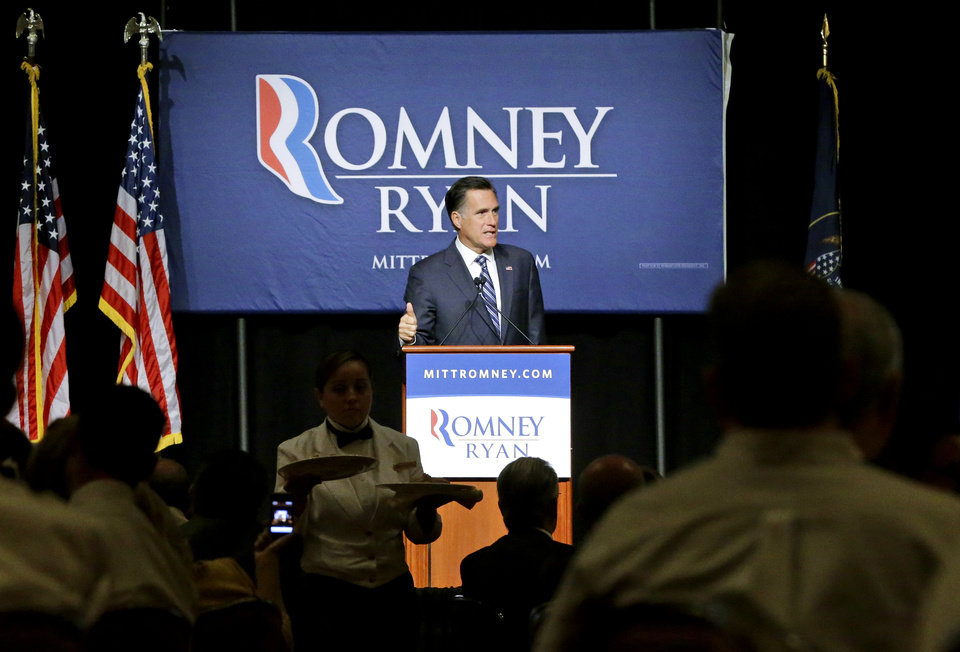 Photo -   Lunch is served as Republican presidential candidate and former Massachusetts Gov. Mitt Romney speaks at a campaign fundraising event, the first of which reporters' cameras were allowed in, at The Grand America in Salt Lake City, Utah, Tuesday, Sept. 18, 2012. (AP Photo/Charles Dharapak)