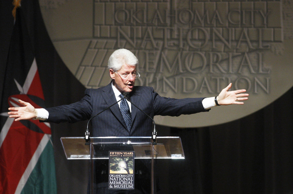 Photo - Former President Bill Clinton speaks during the Reflections of Hope Award ceremony in Oklahoma City, Wednesday, April 21, 2010, in Oklahoma City. Clinton received the sixth annual Reflections of Hope Award for his work in helping Oklahoma City transform following the bombing of the Alfred P. Murrah Federal Building 15 years ago and for his international peace work during his presidency and over the past decade. (AP Photo/Sue Ogrocki) ORG XMIT: OKSO110