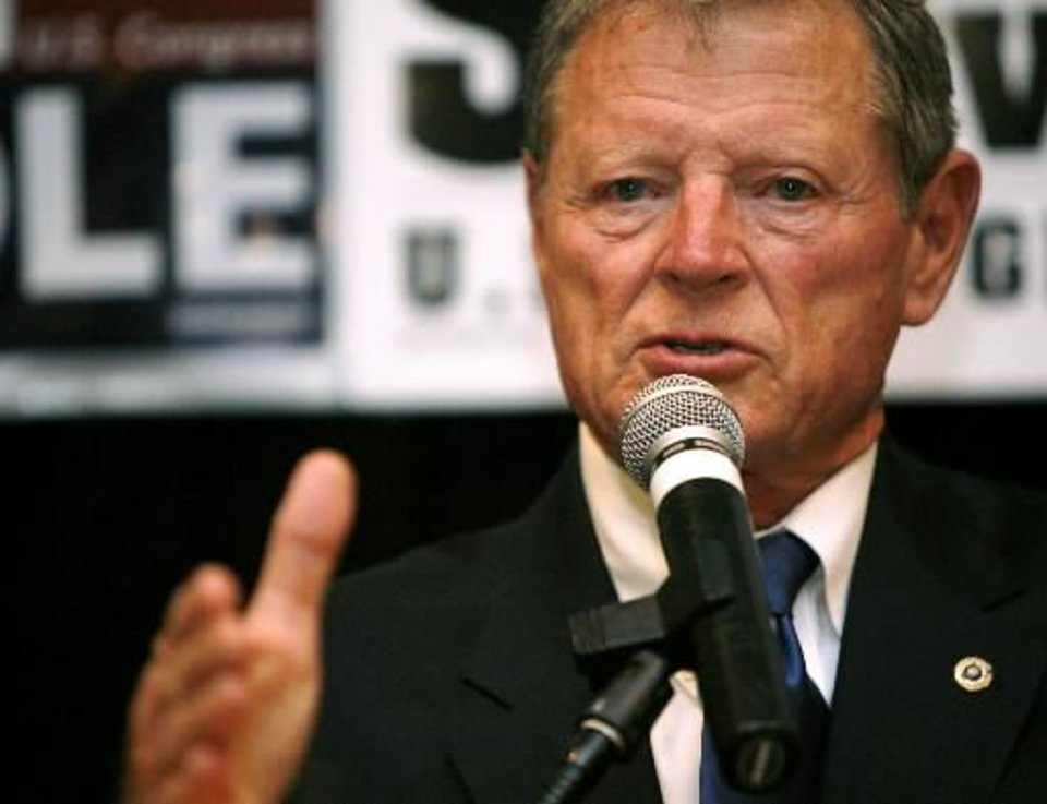 Senator  Jim  Inhofe speaks during the Republican watch party at the Oklahoma City Marriott on Northwest Expressway in Oklahoma City on Tuesday Nov. 4, 2008. By John Clanton, The Oklahoman