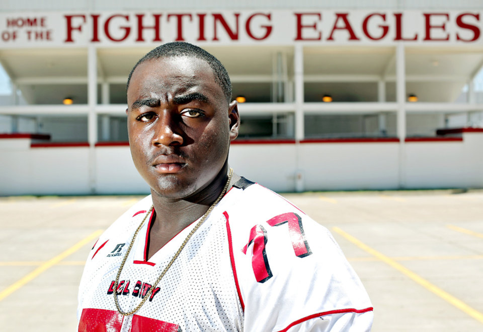 HIGH SCHOOL FOOTBALL: **Super 30** Jamelle Naff, a player at Del City High School, poses outside Robert Kalsu Stadium in Del City on Wednesday, June 23, 2010. Photo by John Clanton, The Oklahoman ORG XMIT: KOD