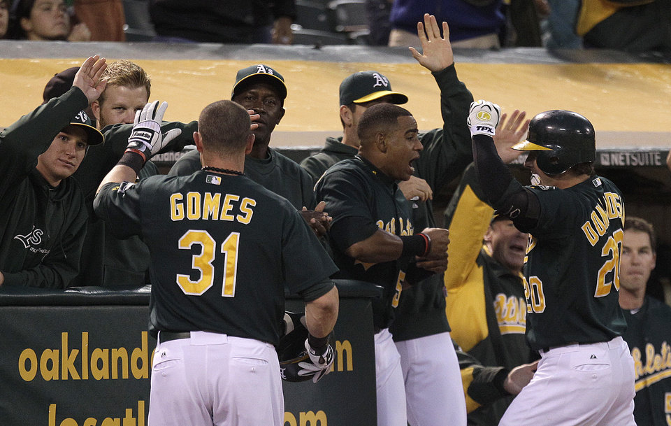 Photo -   Oakland Athletics' Josh Donaldson, right, and Jonny Gomes (31) celebrate Donaldson's two-run home run hit off Boston Red Sox's Aaron Cook in the second inning of a baseball game Friday, Aug. 31, 2012, in Oakland, Calif. (AP Photo/Ben Margot)